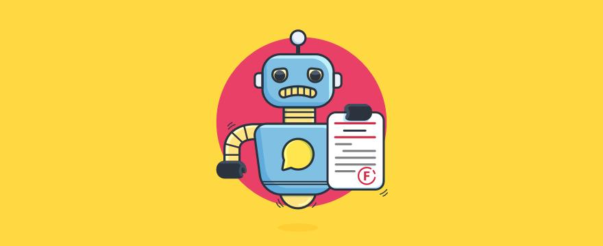 Chatbot hält ein Blatt mit dem Schriftzug 'durchgefallen' – Blogpost zu Chatbot Fehler