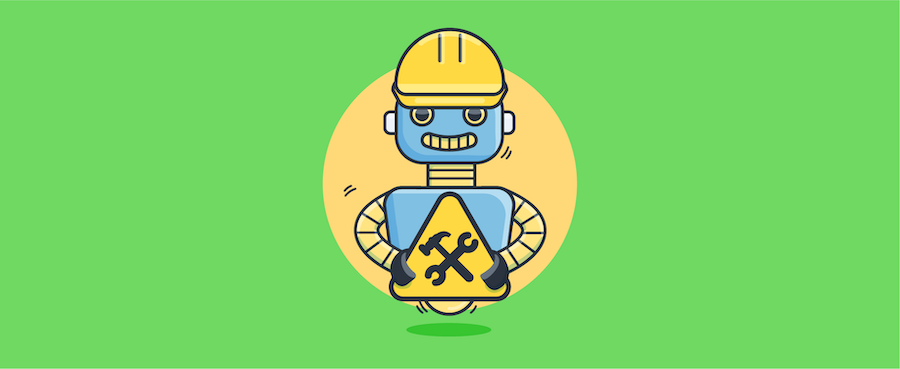 chatbot holding construction sign - header image for chatbot UI