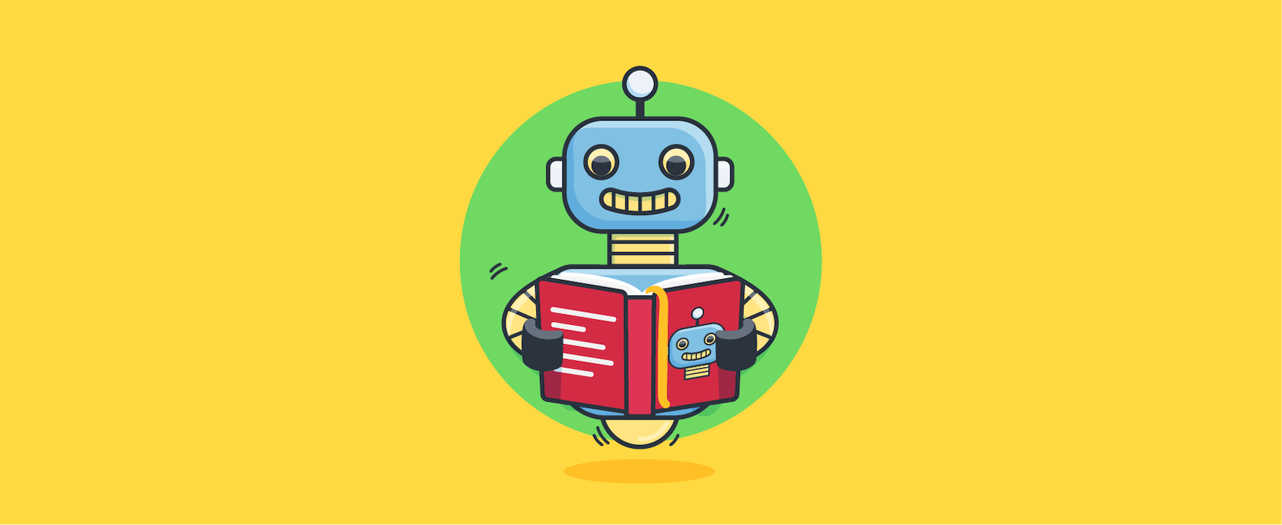 Chatbot reading a book about chatbots.