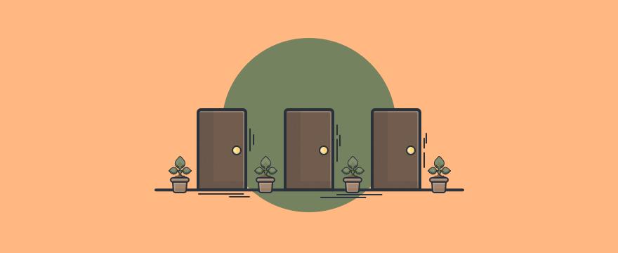 Tres puertas que significan tres posibles escenarios – clientes difíciles