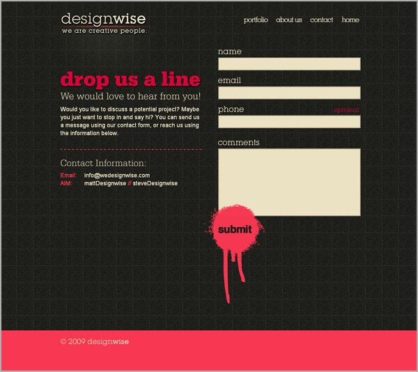 screenshot picture of designwise contact page example