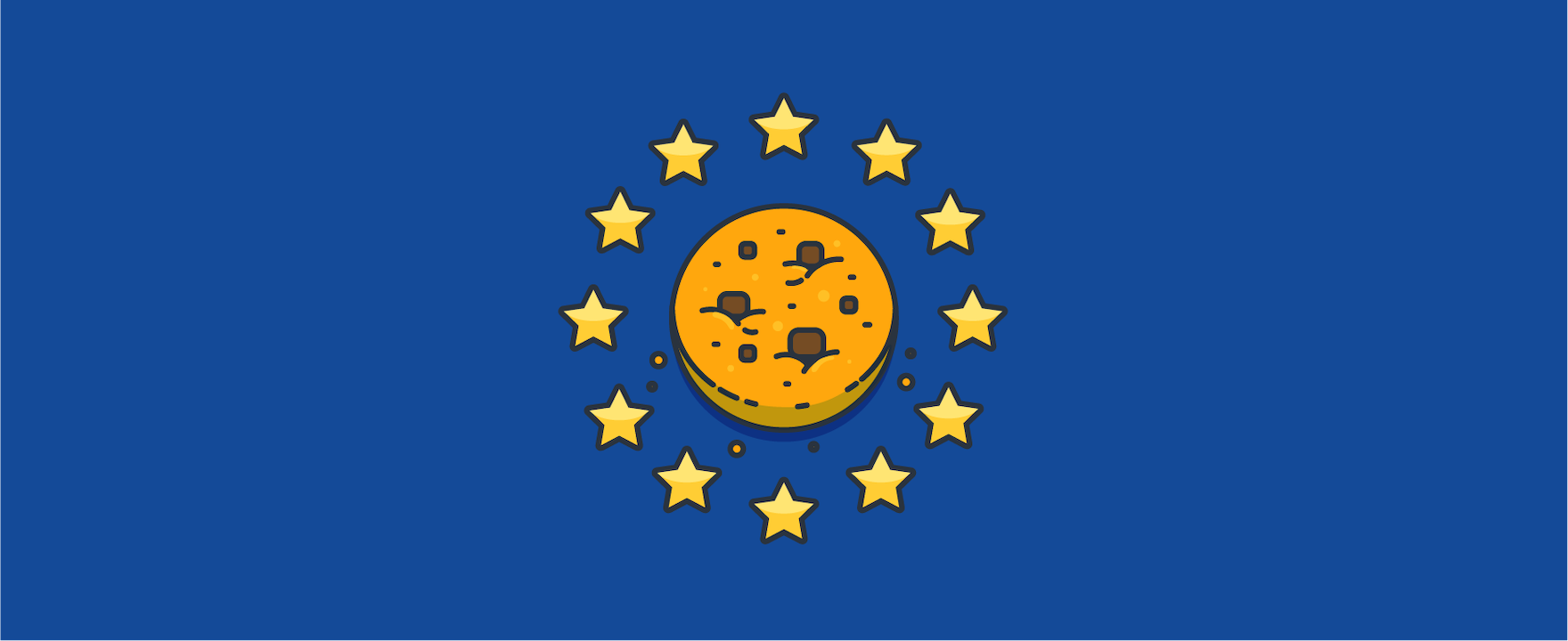 a cookie inside the EU flag – header image for blog post on cookies and live chat