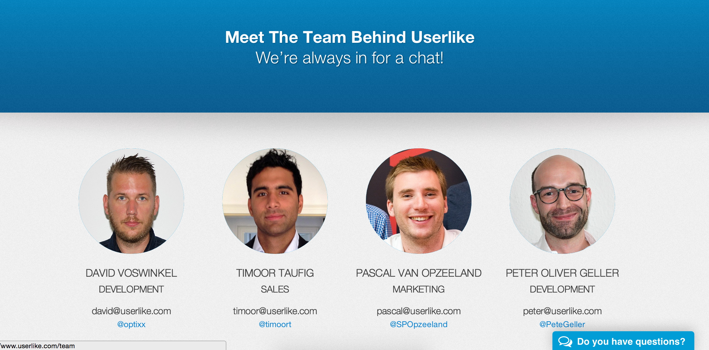 Userlike team page