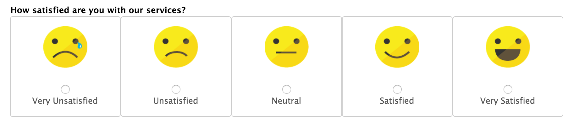 Graphic of labeled CSAT score scale with emoticons