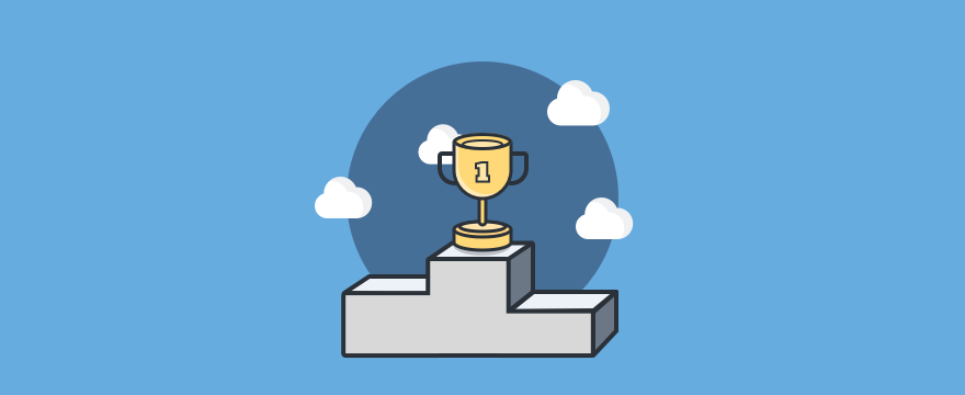 Visualization of a winner's podium with a cup on the first place, header image for customer first blog post