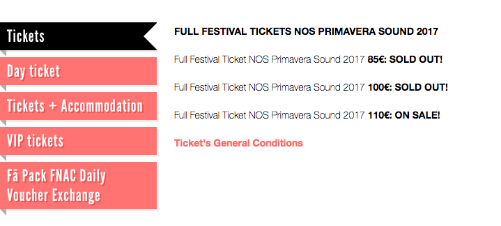 Screenshot of primavera sound festival's pricing page with tiered pricing
