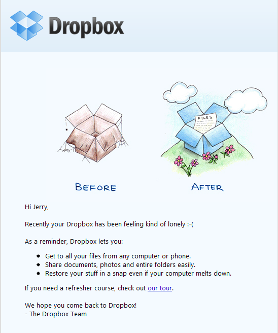 Dropbox email to reactivate inert users