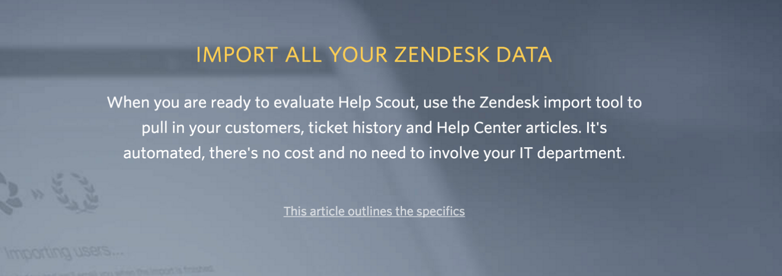 Screenshot of Help Scout banner to promote a switch from Zendesk