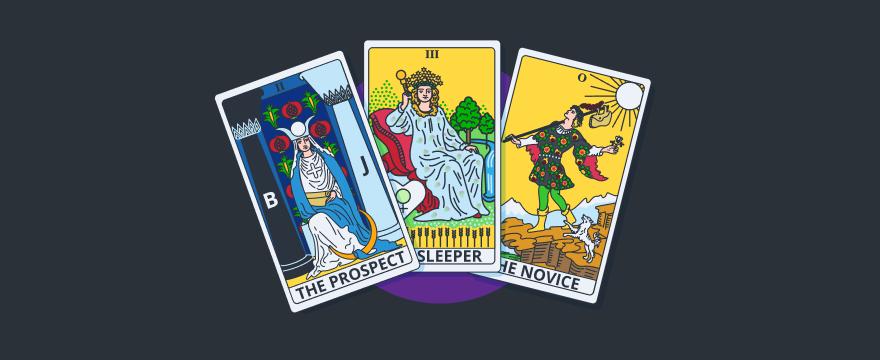 Tarot cards with customer types.