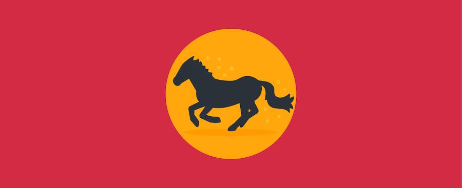 A horse running.