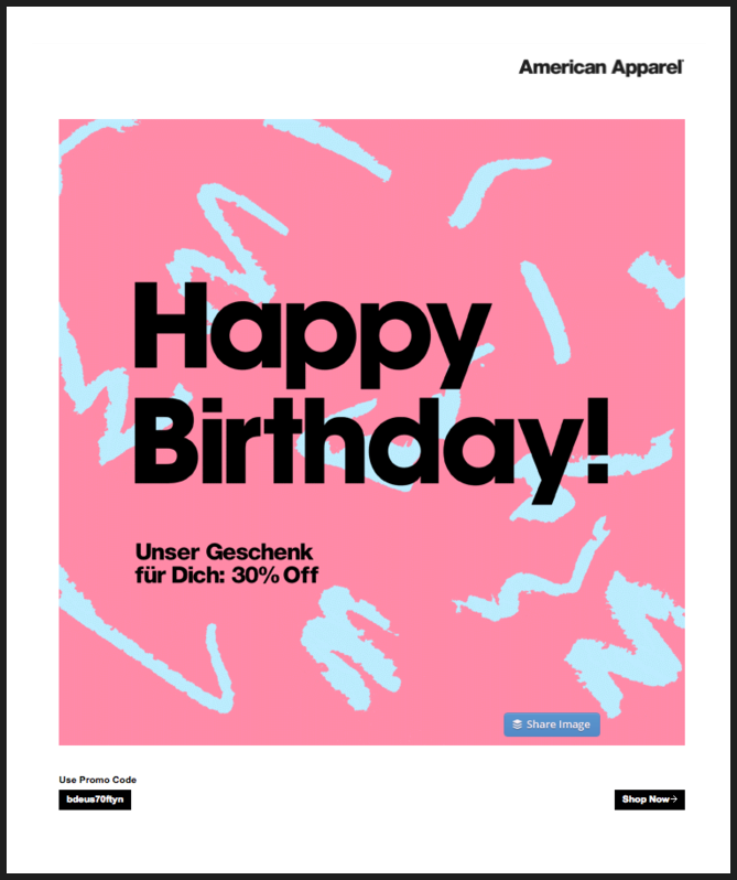 Screenshot American Apparel birthday email discount coupon
