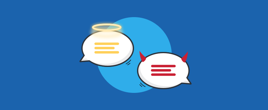 One angel and one devil chat bubble, representing the right and the wrong in customer service ethicd.