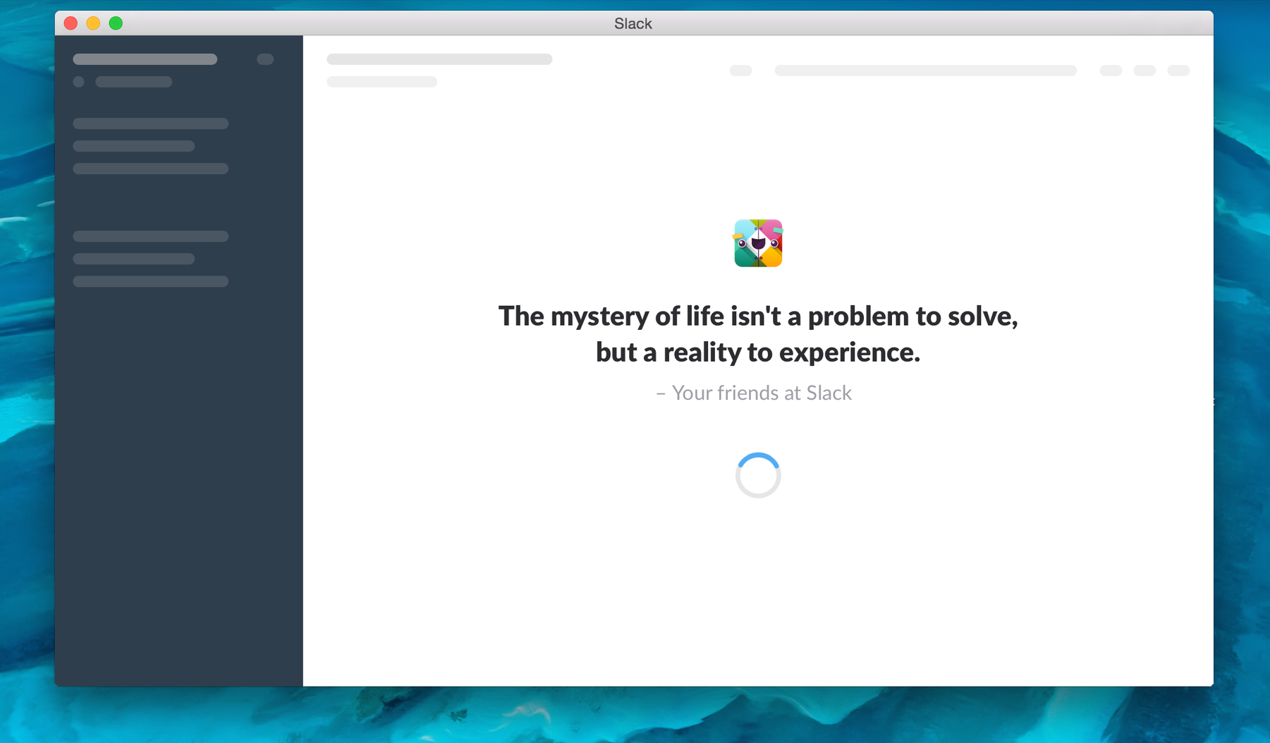 screenshot of one of Slack's opening quotes.