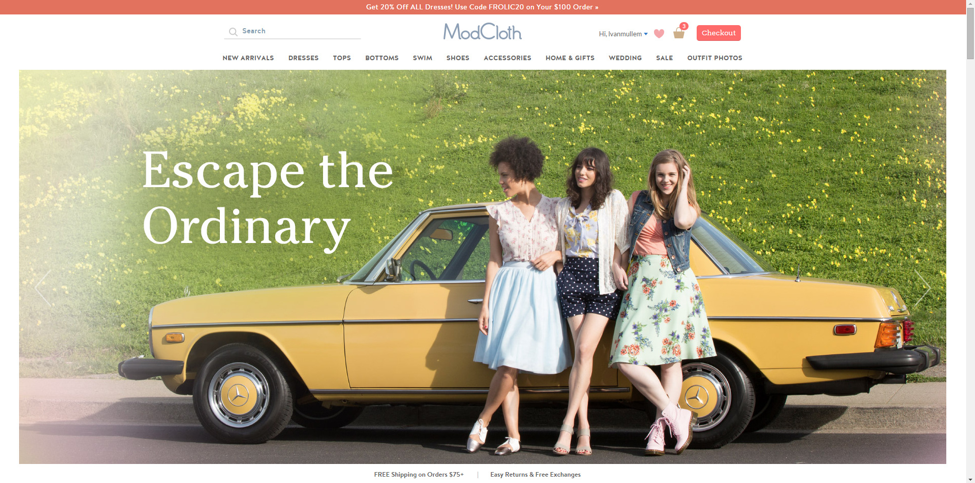 Screenshot of Modcloth website.