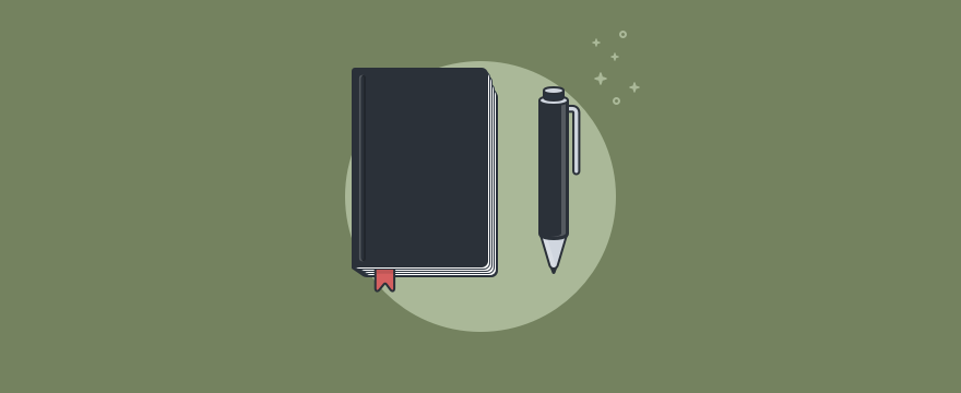 A notebook and a pen.