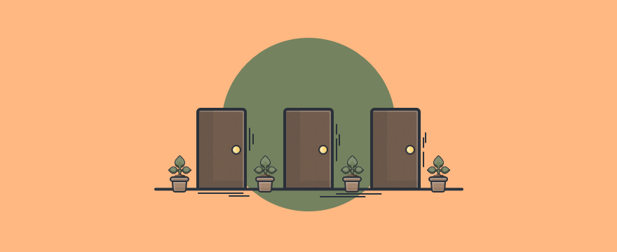 Three doors to signify different customer service scenarios.