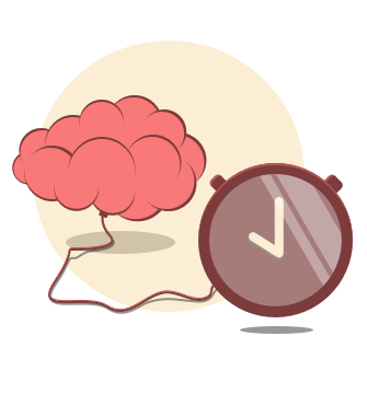 A brain with a clock.