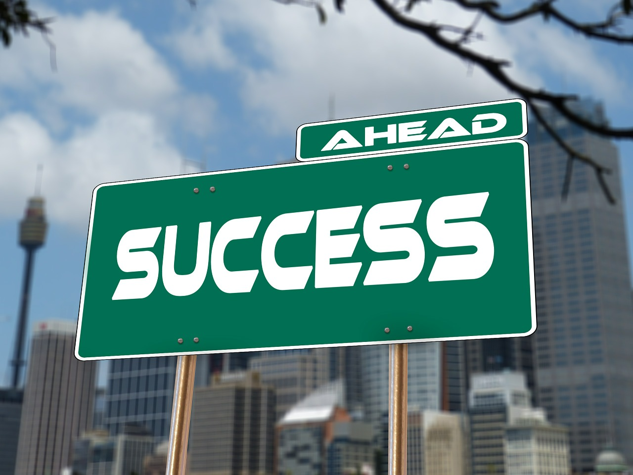 "road sign with ""success"""