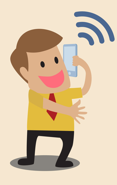 cartoon of happy man on the phone