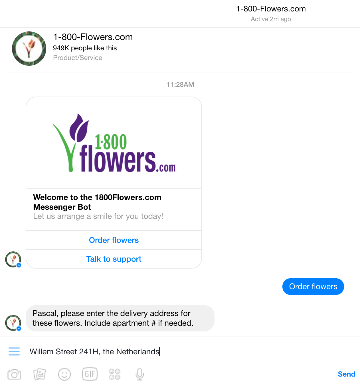 screenshot of 1-800 flowers chatbot in action