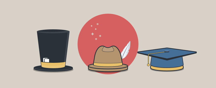 3 hats representing the different roles that Customer Success has to take on.