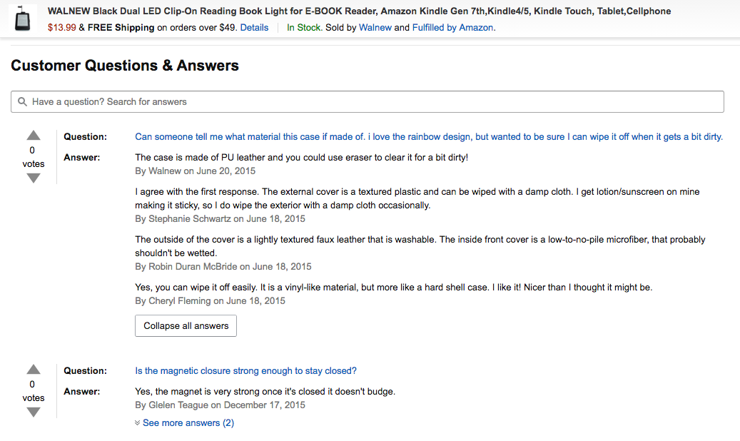 Screenshot of Amazon product page Customer Questions and Answers section