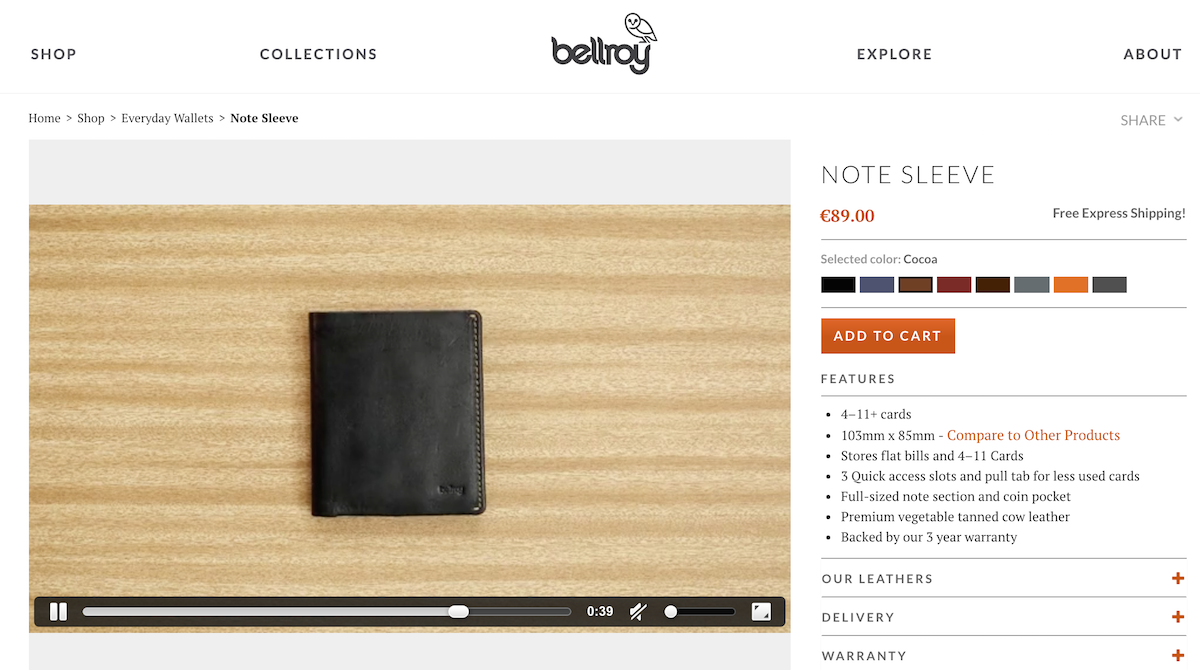 Screenshot of Bellroy product page
