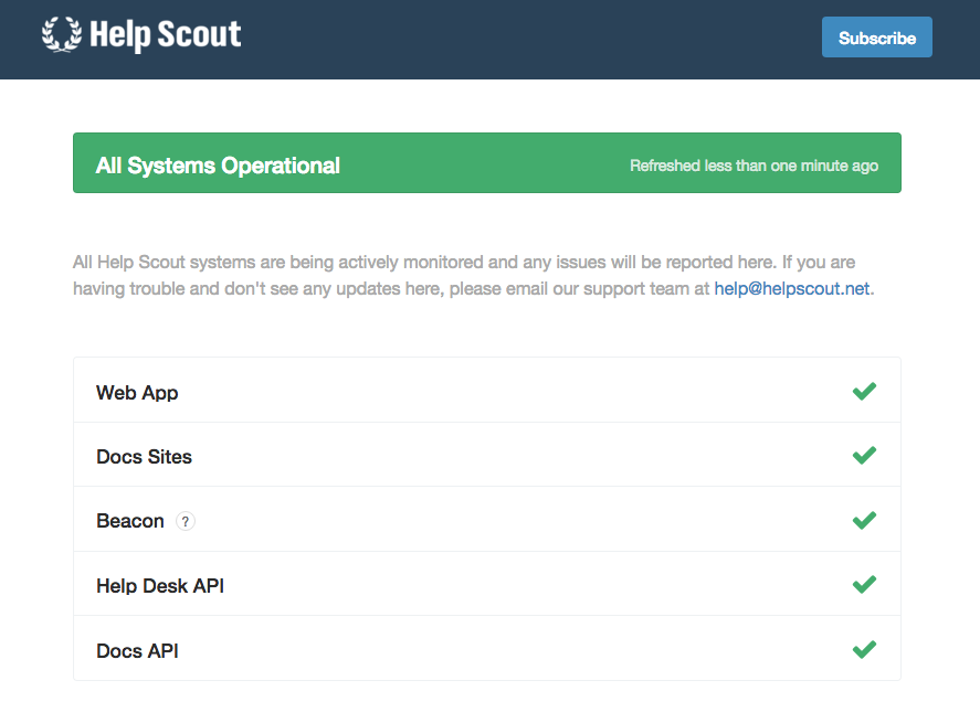 Helpscout's system status page