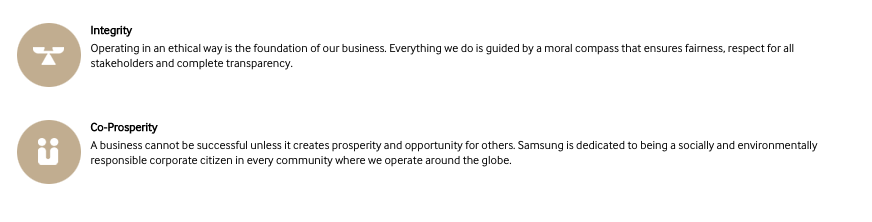 Screenshot of Samsung's 'Our Values' section