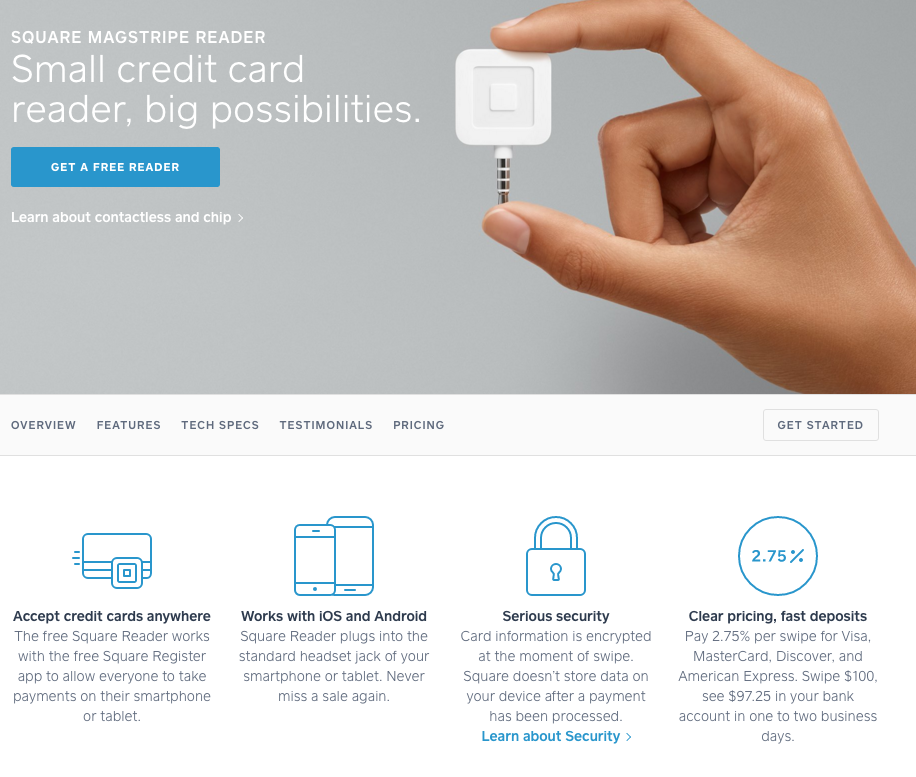 Screenshot of credit card reader product page by Square
