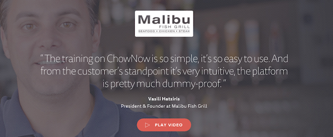 Screenshot of Malibu Fish Grill testimonial on ChowNow.com
