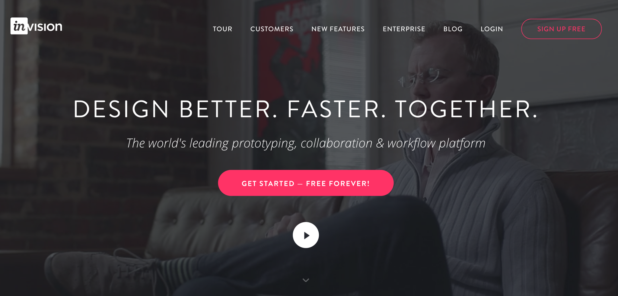 screenshot of the Invision website