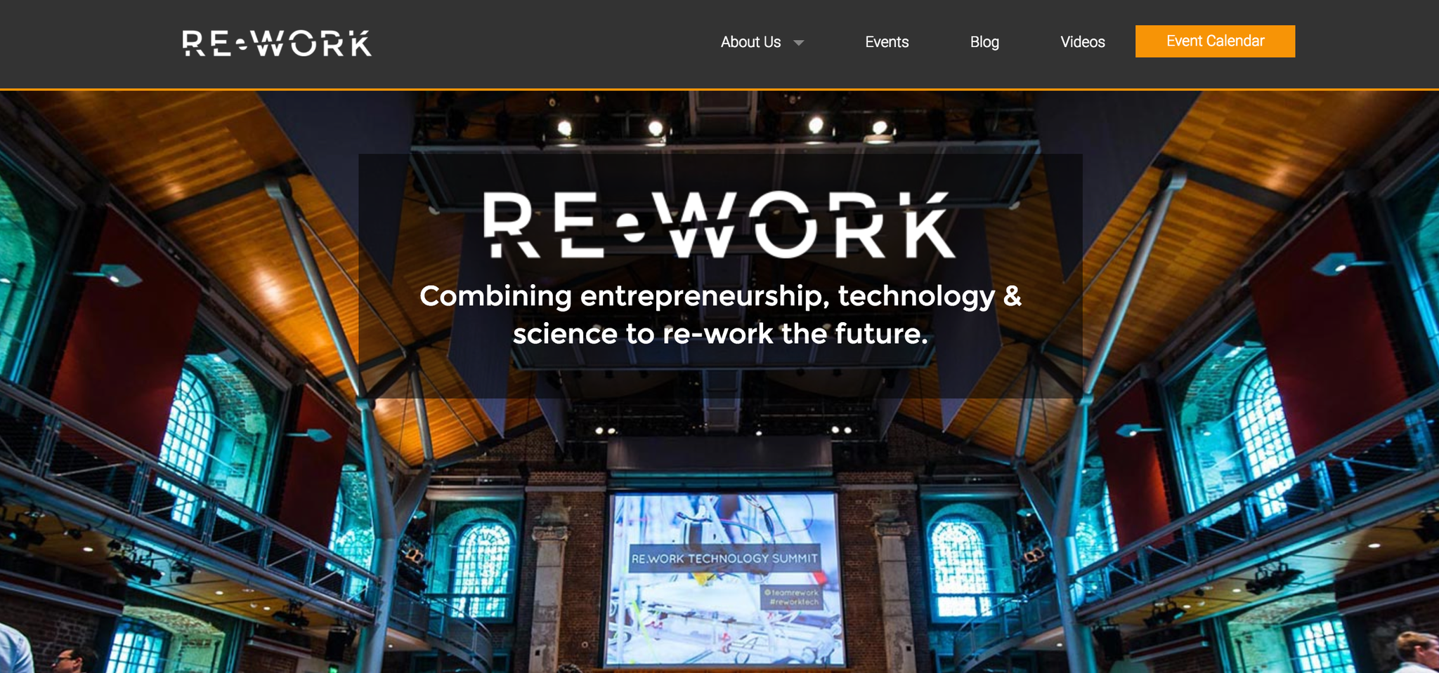 Screenshot of the RE•WORK website