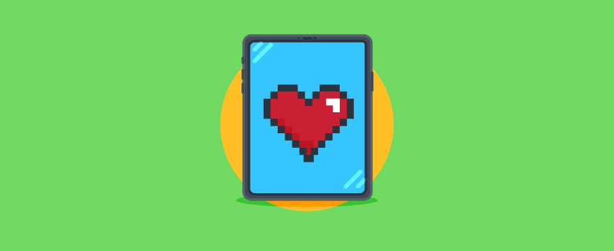 A tablet device with a pixel heart on it.