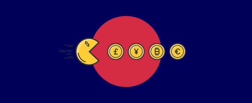 Pac-Man eating currencies.