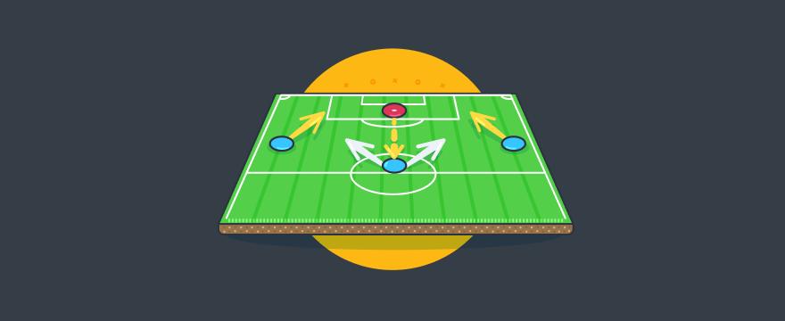 Bild von einem Fußballfeld mit strategischer Analyse
