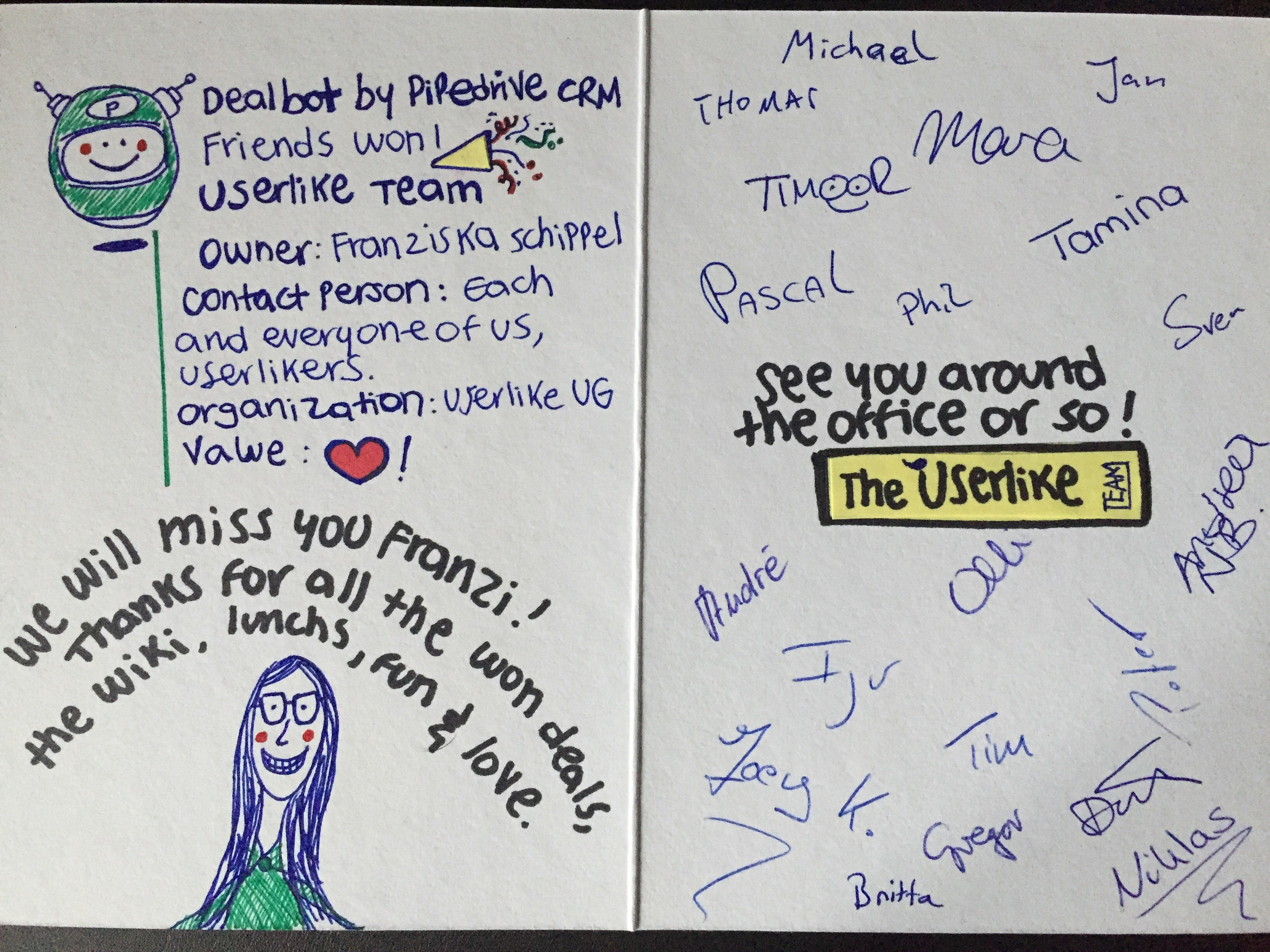 hand drawn farewell card from userlike for a former employee featuring a portrait of her