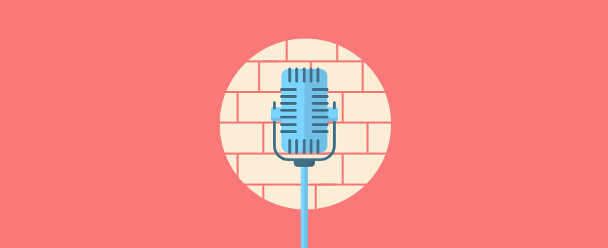 a mic in front of a brick wall