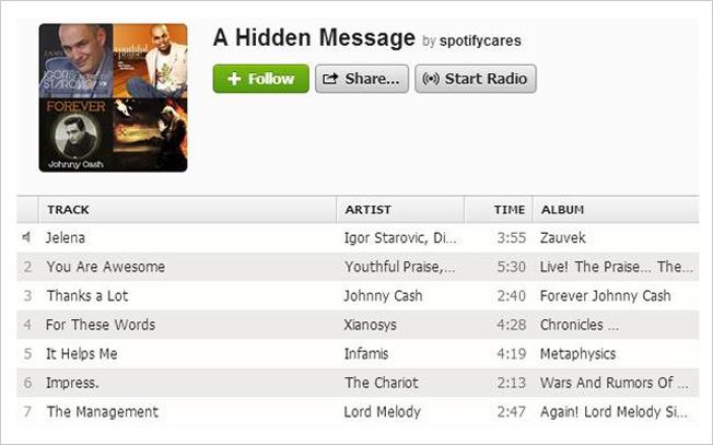spotify has a hidden message