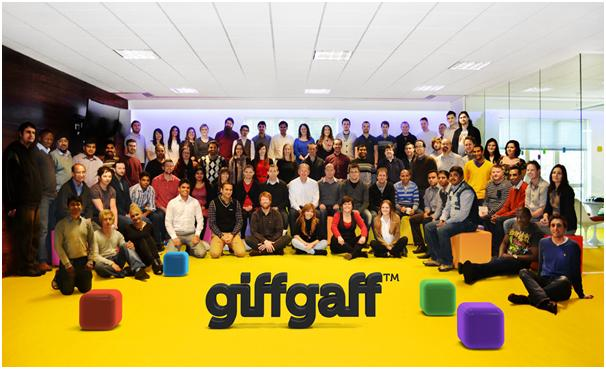 photograph picture of giff gaff team group picture employees gamification