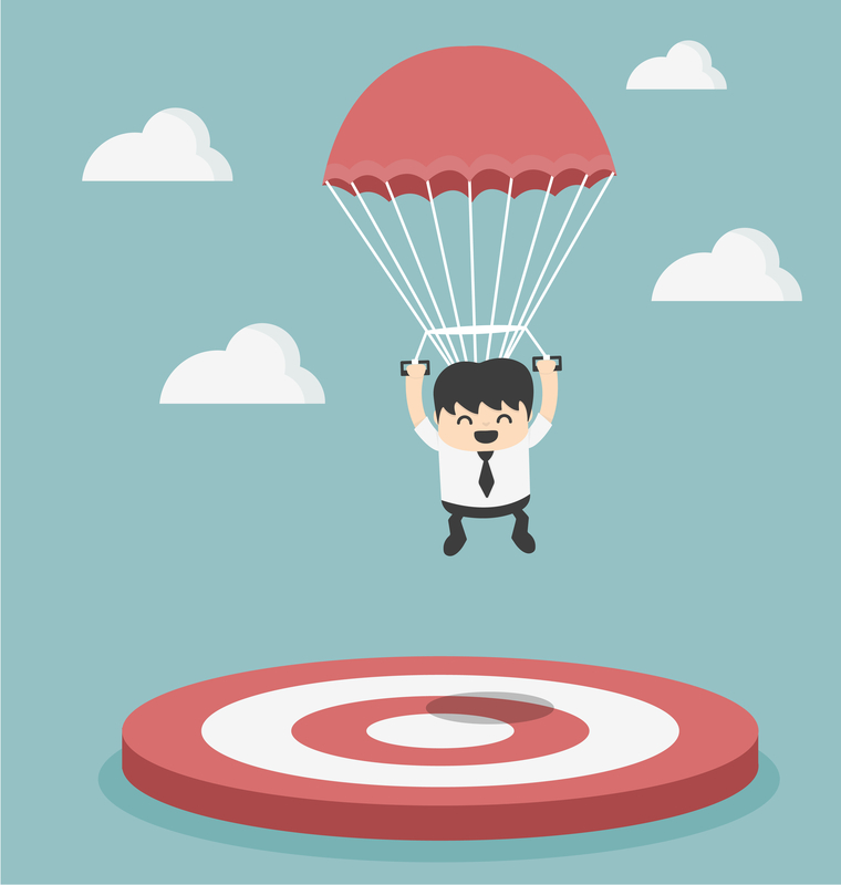 dreamstime comic picture of manager landing on target with parachute