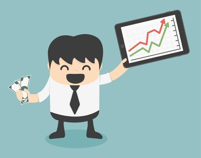 dreamstime comic picture of manager with positive statistics and money