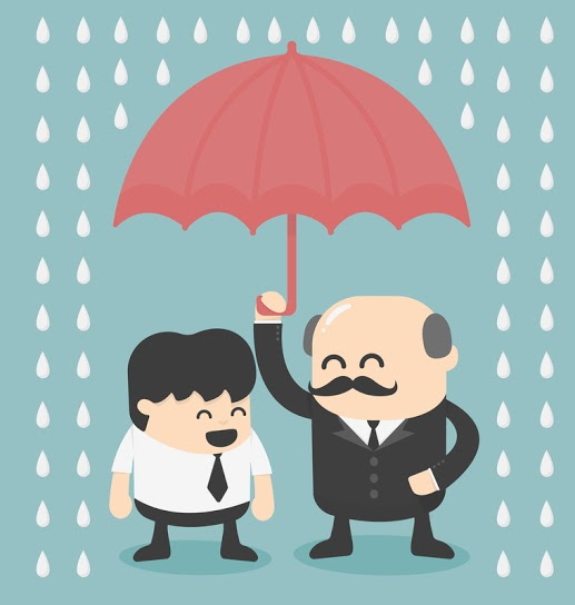 dreamstime comic picture of manager under umbrella in the rain