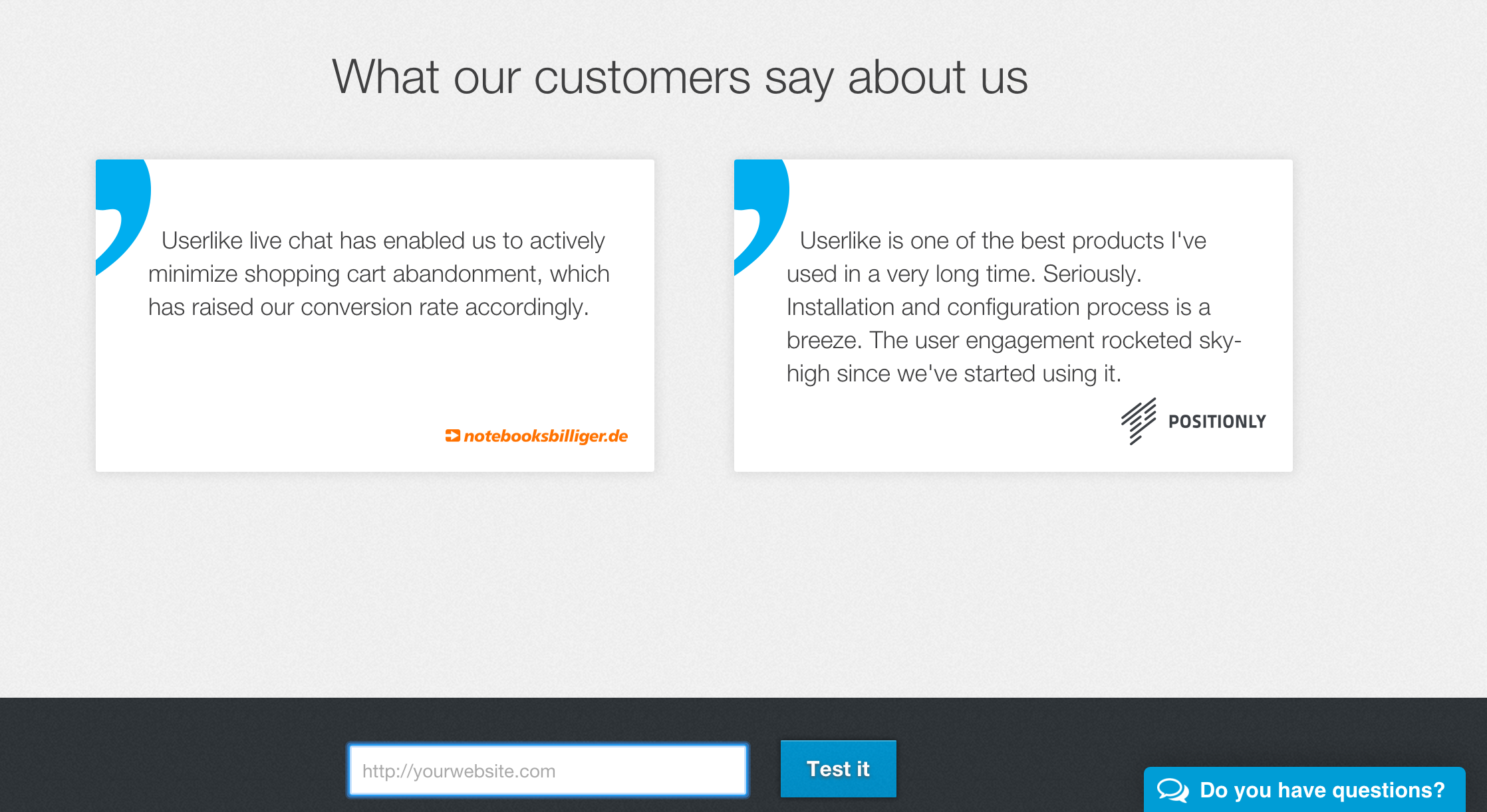 userlike screenshot what our customers say about us