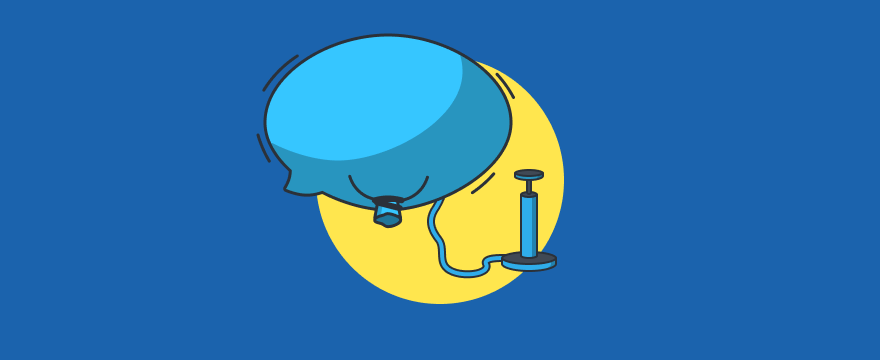 a balloon getting pumped up – header image for how to get more live chats