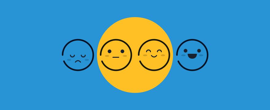 Visualization of a customer satisfaction scale through four emojis from unhappy to happy. Header image for blog post on improving customer satisfaction.