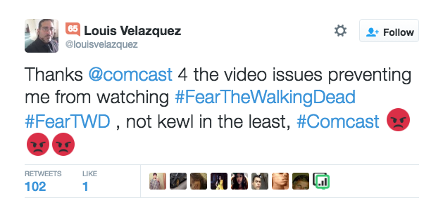 Screenshot of a Tweet by an angry comcast customer
