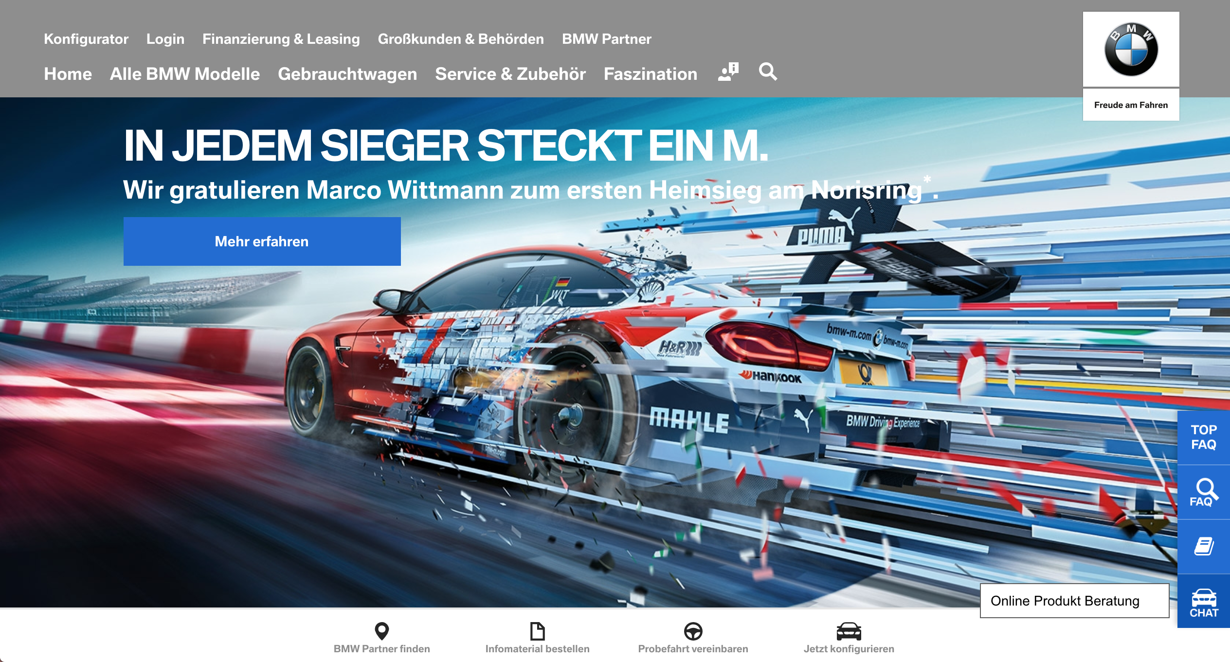Screenshot of BMW website with live chat.
