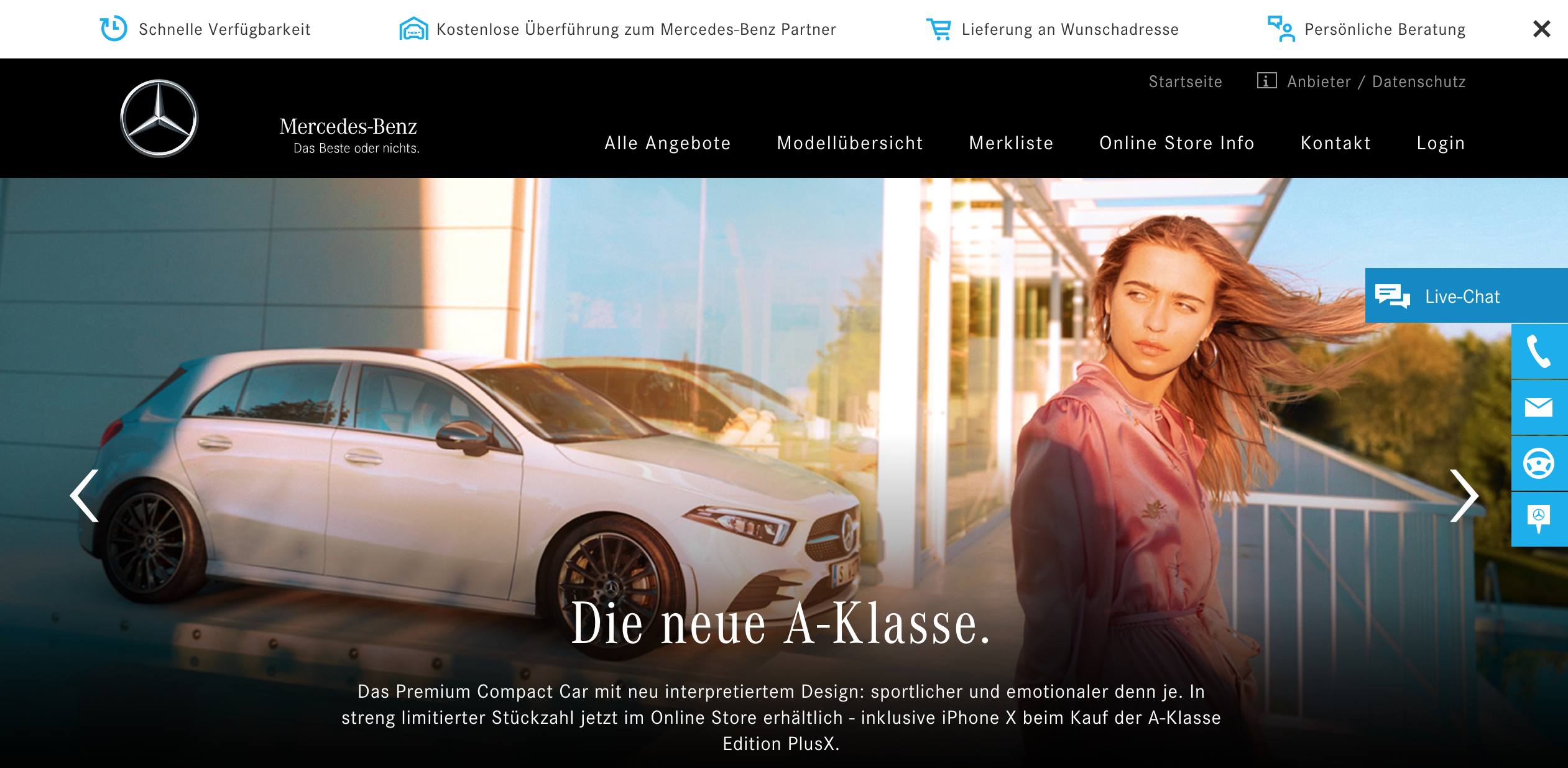 Screenshot of Mercedes website with live chat.
