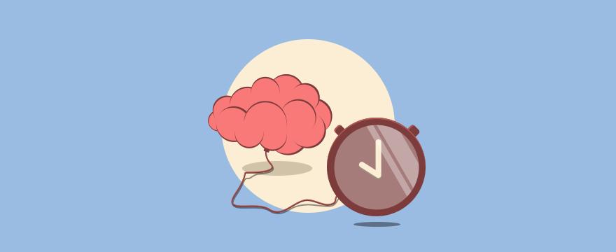 Cartoon of a brain connected to a timer clock
